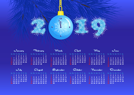 Happy New Year, wall calendar for 2019 year, single page, numbers with snowflakes and Christmas ball clock, blue ball with a clock on a fir tree branch, dark blue background