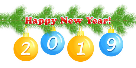 Happy New Year, greeting banner with colored Christmas balls, greeting lettering, fir tree branch, numbers 2019, white background