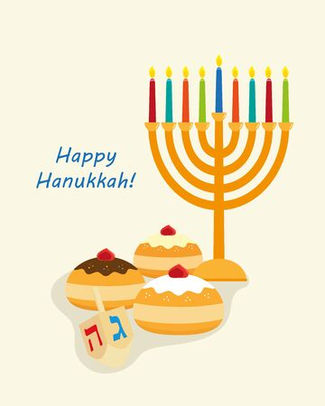 Holiday of Hanukkah, candelabrum and sufganiyot Vectores