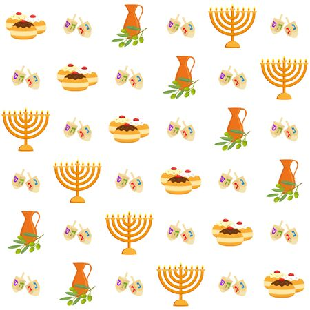 Jewish holiday of Hanukkah, seamless pattern Illustration