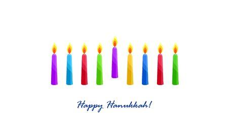 Holiday of Hanukkah, nine burning candles
