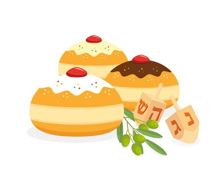 Jewish holiday of Hanukkah, hanukkah sufganiyot doughnuts, dreidel spinning top or sevivon and olive branch with olive fruits on white background Illustration