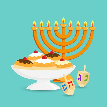 Jewish holiday of Hanukkah, hanukkah menorah, traditional nine-branched candelabrum, sufganiyot doughnuts in the bowl, dreidel spinning top or sevivon with hebrew alphabet on turquoise background