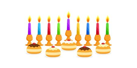 Jewish holiday of Hanukkah, nine colored burning candles in candle holders, candlesticks, doughnuts sufganiyot on white background, Happy Hanukkah