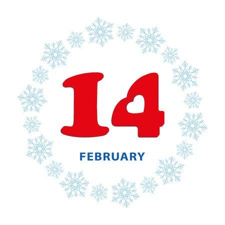 Valentines day, 14 February, calendar date
