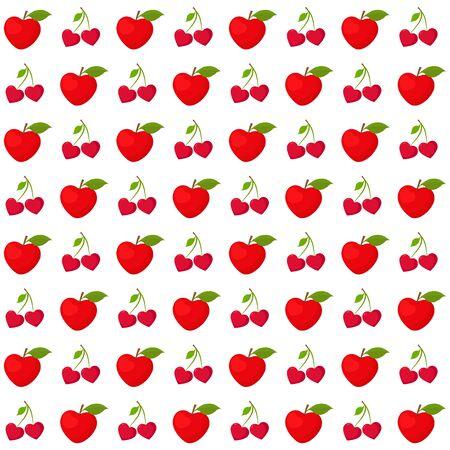 Valentines day seamless pattern, fruit hearts Illustration