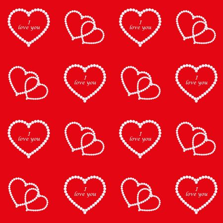 Valentines day seamless pattern, red hearts