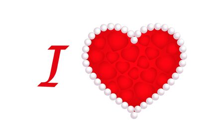 I Love, Valentines day, red hearts Illustration