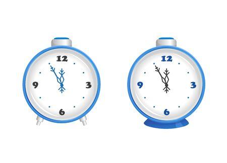 Two alarm clocks, vector illustration