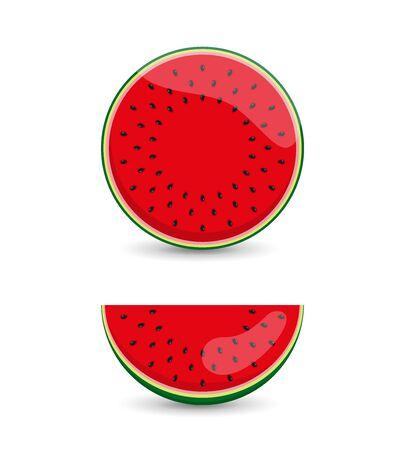 Red watermelon, fruit set. Vector illustration