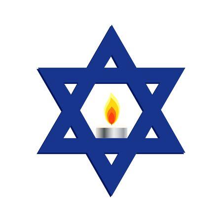 Israel Memorial day, Yom HaZikaron, Star of David Illustration