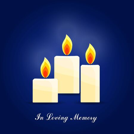 Burning candles set, memorial candles Illustration