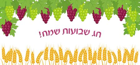 Jewish holiday of Shavuot, greeting banner with bunches of grapes, wheat ears, greeting inscription hebrew - Happy Shavuot Illustration