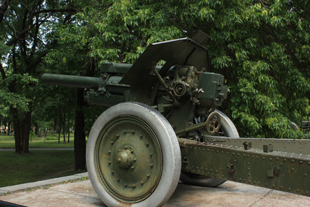 militarily: old historic artillery cannon gun Stock Photo