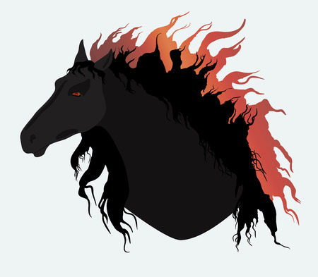 Black horse with fiery mane Vector