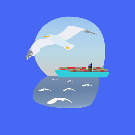 overseas: emblem or logo container ship and overseas transport