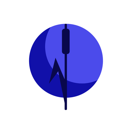 reed and moon symbol, blue circle design element
