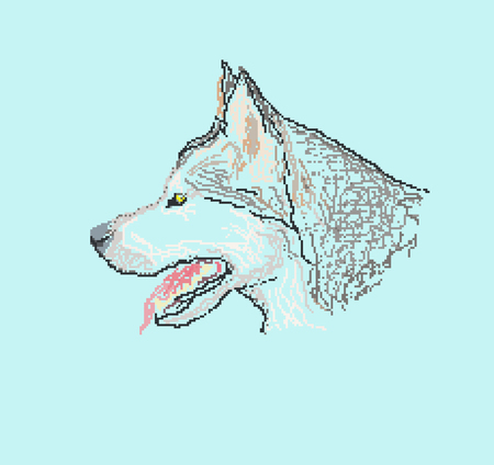 dog husky head pixel art style, design element