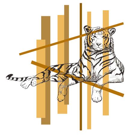 tigress: Black and white drawing of lying tiger, sketch illustration. Illustration
