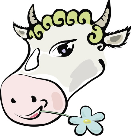 picture with a cheerful cow who chews flowerfor your desig Stock Vector - 17152174