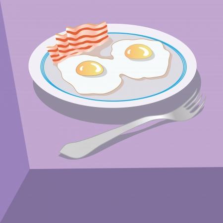 eggs and bacon: colorful illustration with eggs and bacon for your design