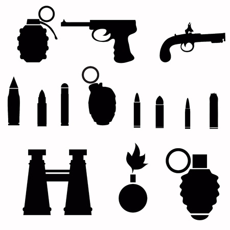 black silhouettes of weapon for your design