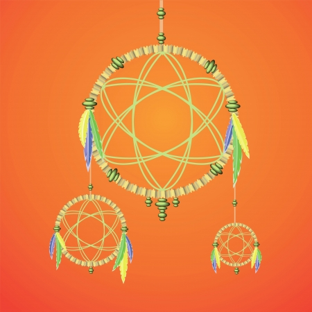for a dream: colorful illustration with dream catcher for your design