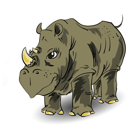 undomesticated: colorful illustration with large rhino  for your design Illustration