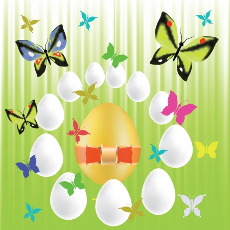 colorful illustration with easter eggs and butterflies  for your design Stock Illustration - 18868415