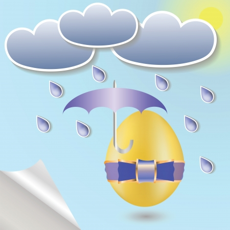 colorful illustration with  easter eggs and umbrella  for your design illustration