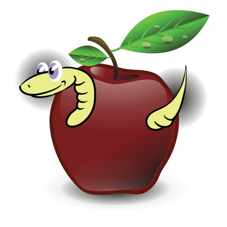 colorful illustration with apple and worm  for your design illustration
