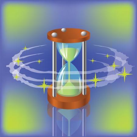 sand clock: ilustraci�n colorida con el reloj de arena para su dise�o Vectores