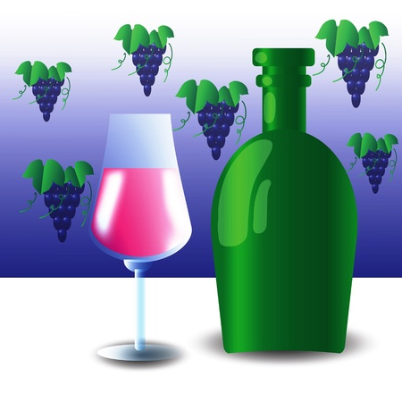 ample: colorful illustration with green bottle and wineglass  for your design Illustration