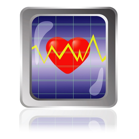 colorful illustration with cardiogram icon for your design Vector