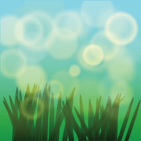 colorful background with grass for your design Vector