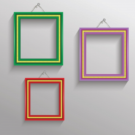 colorful illustration with  photo frames for your design