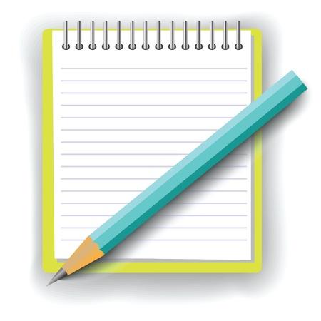 kleurrijke illustratie met notitieboekje en potlood voor uw ontwerp