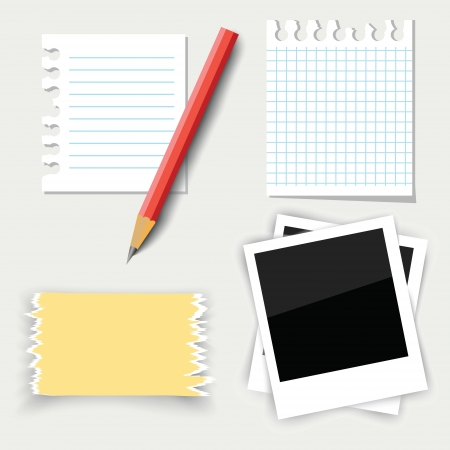 colorful illustration with note paper and pencil for your design Stock Vector - 20442447
