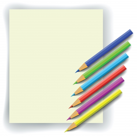 set of colorful pencils and paper for your design Stock Vector - 20442450