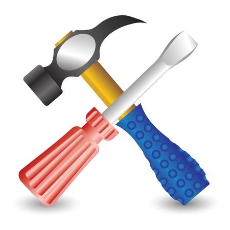 colorful illustration with hammer and screwdriver for your design Stock Vector - 21379087