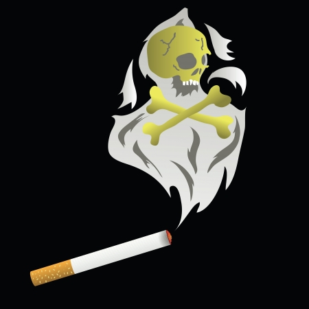 death s head: colorful illustration with cigarette for your design