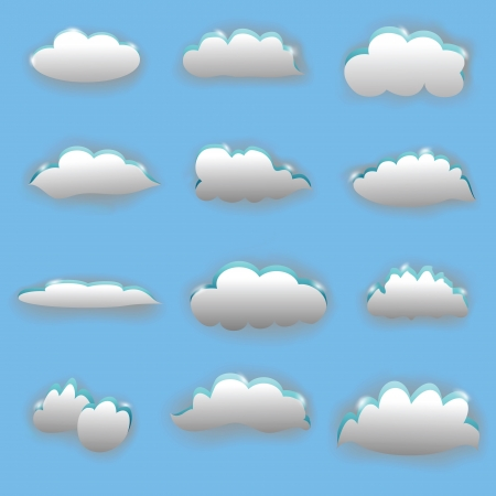 set of clouds on blue background Stock Vector - 21934932