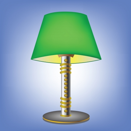 colorful illustration with decorative green table lamp for your design