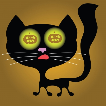 colorful illustration with halloween cat  for your design