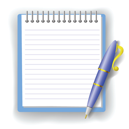 colorful illustration with pen and notepad  for your design