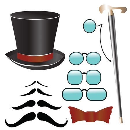 colorful illustration with mustaches and  retro accessories   for your design Illustration