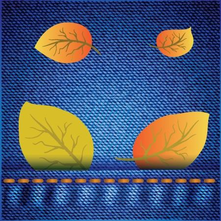 transparent dress: autumn leaves on realistic blue jeans texture for your design