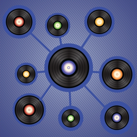 disk jockey: colorful illustration with vinyl records for your design