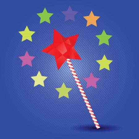 thaumaturge: colorful illustration with magic wand for your design Illustration