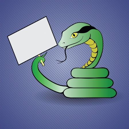 colorful illustration with  green snake for your design Vector